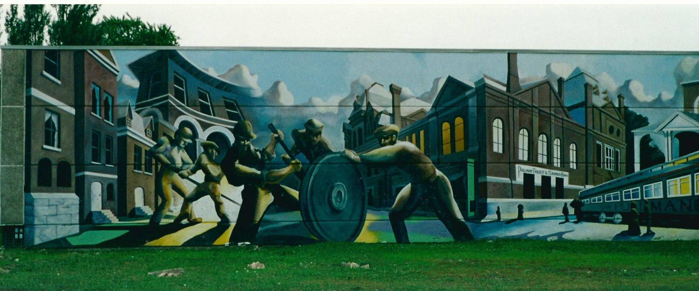 Mural depicting images from the history of the Pullman neighborhood